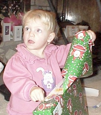 Granddaughter opening present